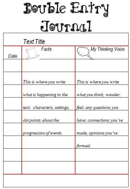Senior reading responses margd teaching posters for Double sided journal entry template
